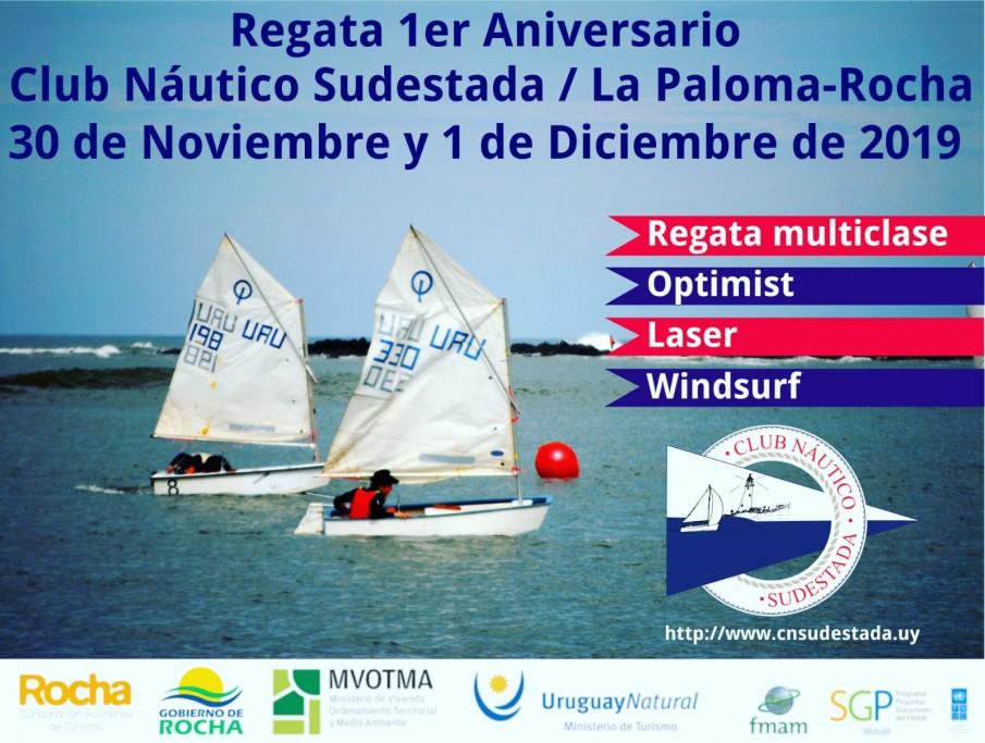 Regata en aguas de la playa Bahía Grande por el 1er Aniversario del Club Náutico Sudestada de La Paloma