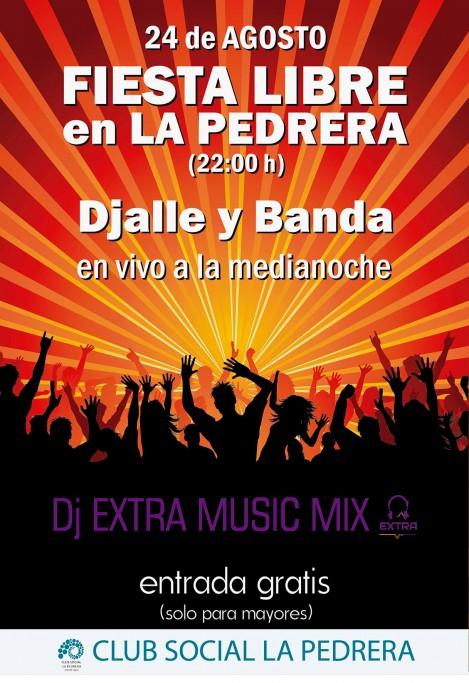 El 24 de agosto: Fiesta Libre en el Club Social de La Pedrera, con música en vivo. ¡Entrada gratis!