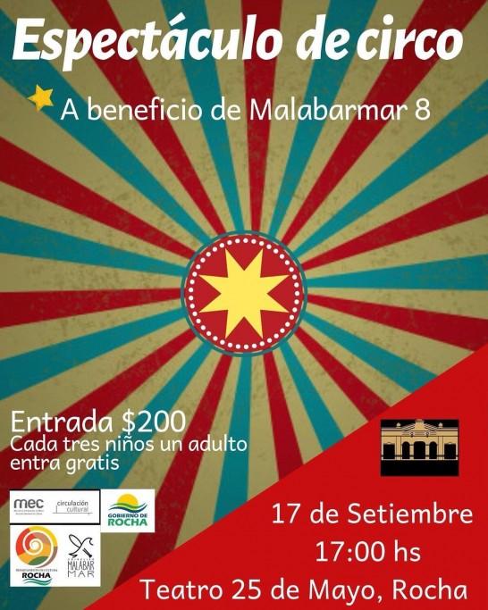 Espectáculo de circo a beneficio en el Teatro 25 de Mayo de Rocha