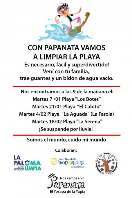 A limpiar la playa La Serena de La Paloma con el payaso Papanata