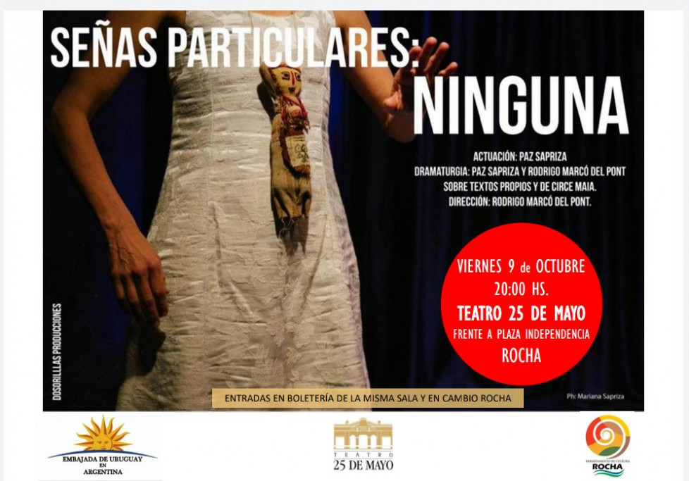 """Teatro: """"Señas particulares: ninguna"""" en el Teatro 25 de Mayo de Rocha"""