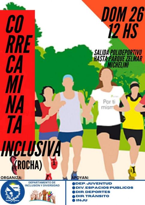 Correcaminata inclusiva en Rocha, saliendo desde el Polideportivo hasta el Parque Zelmar Michelini