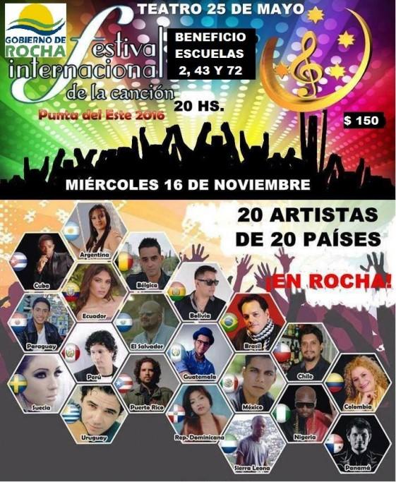 Festival internacional de la canción en el Teatro 25 de Rocha