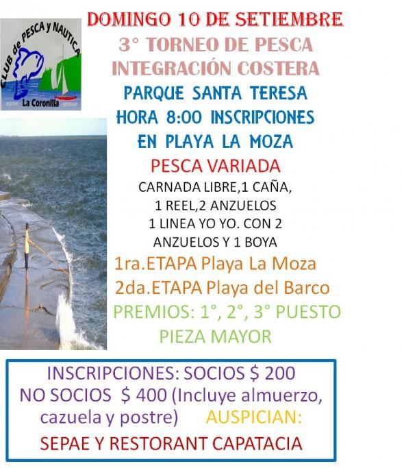 3er torneo de pesca Integración Costera en el Parque Santa Teresa