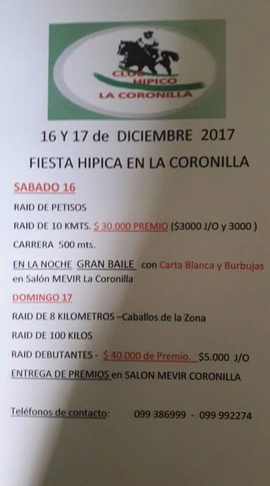 Fiesta Hípica en La Coronilla: raids, carreras, bailes y premios