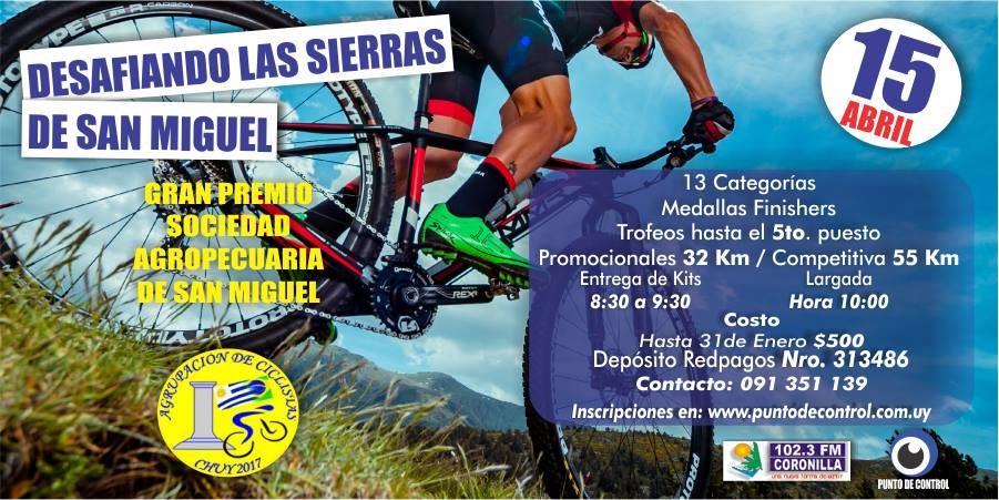 """Competencia de MTB: """"Desafiando las Sierras de San Miguel"""" en 18 de Julio"""
