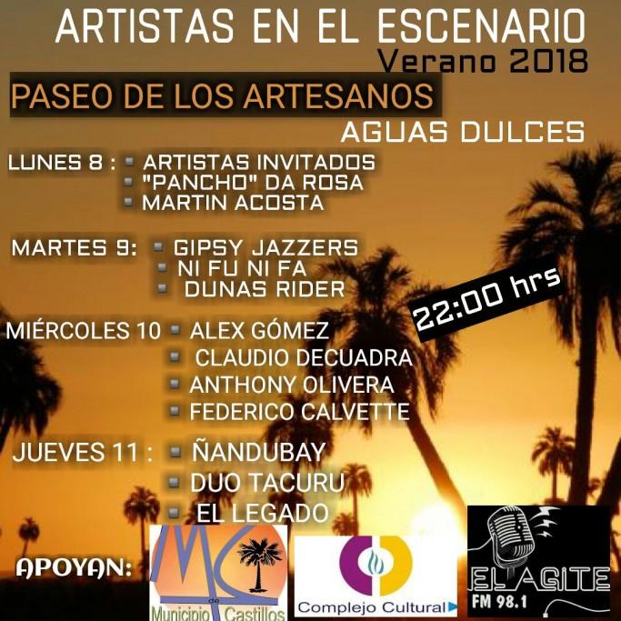 """""""Artistas en el escenario"""" en el Paseo de los Artesanos en Aguas Dulces"""