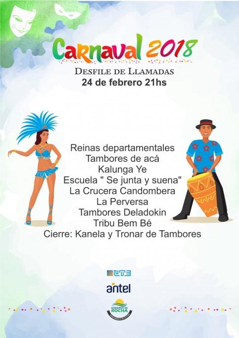 Desfile de Llamadas por las calles de la ciudad de Rocha