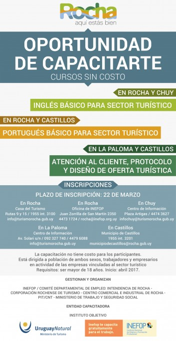 Cursos sin costo en Rocha, La Paloma, Castillos y Chuy