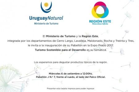 Invitación Región Este en el pabellón de Uruguay Natural para la Expo Prado 2017