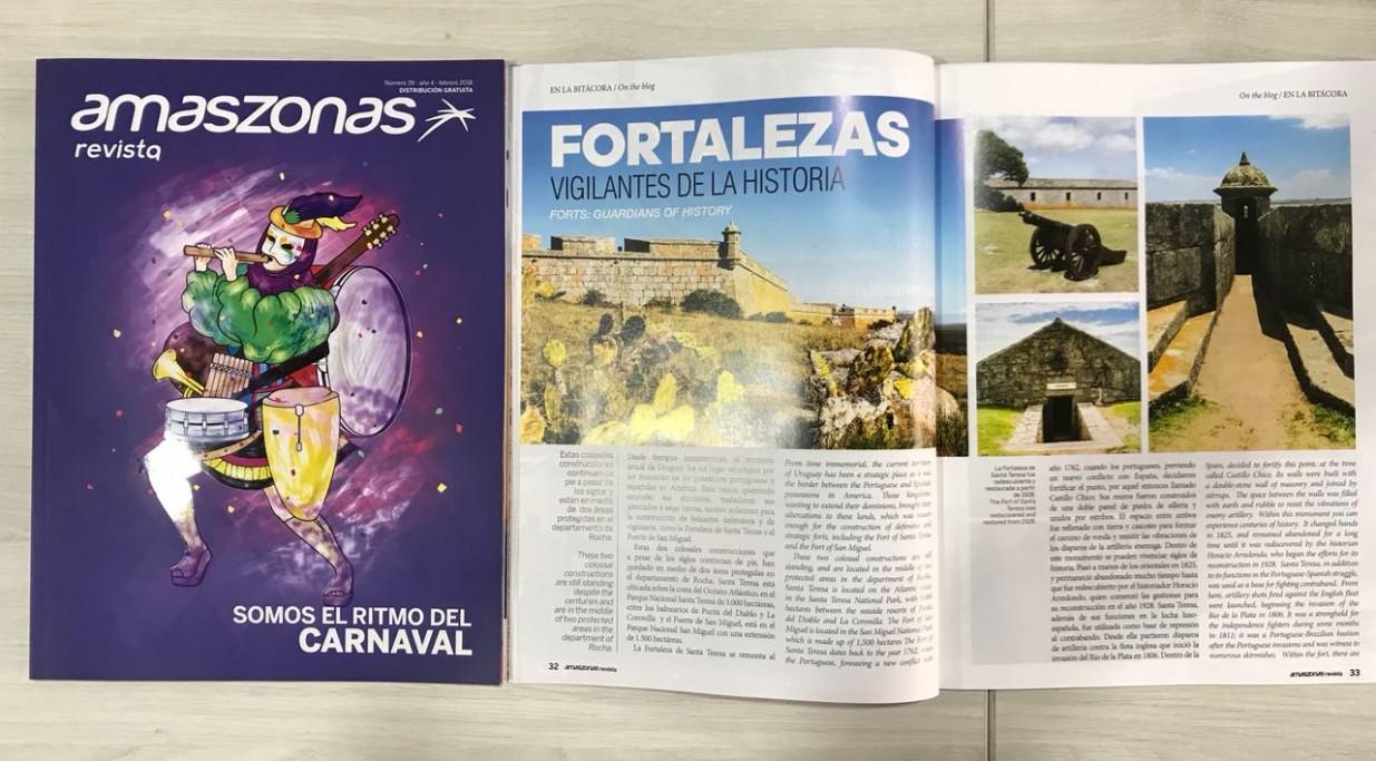 Rocha en revista de la aerolínea Amaszonas