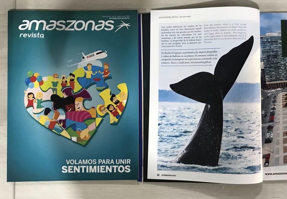 Rocha en la revista de la aerolínea Amaszonas