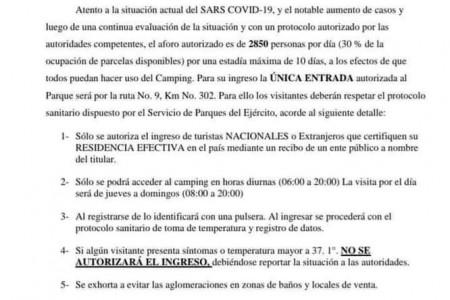 Uruguayos podrán alojarse en el camping de Santa Teresa hasta 10 días siguiendo el protocolo establecido
