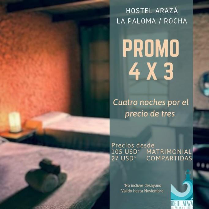 Promoción 2019 en Hostel Arazá en La Paloma