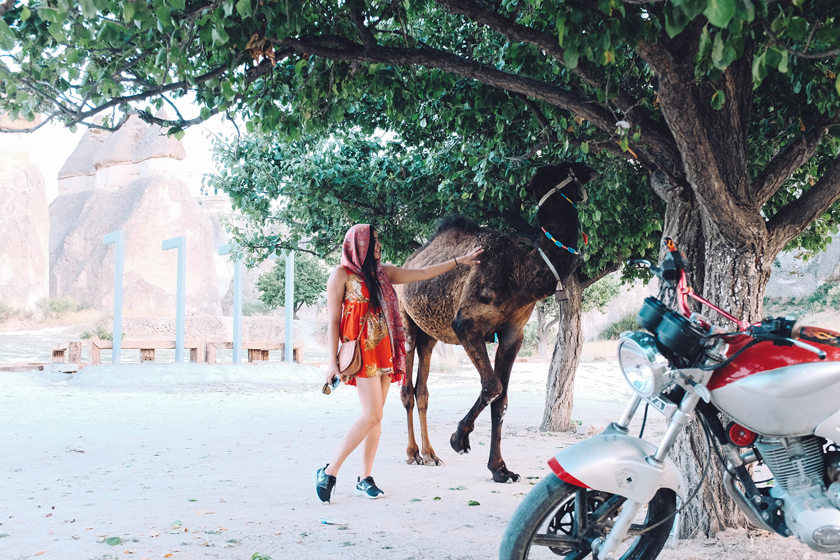 Sonia with a camel in Cappadocia