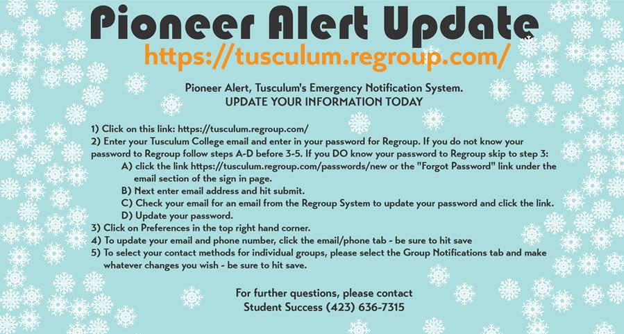 Pioneer Alert Update