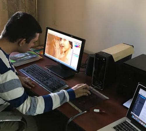 Dheeraj's student doing practice task