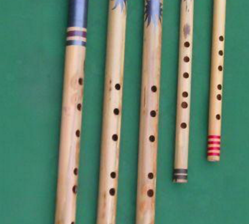 Flutes made by Nikhil which he uses to teach his students