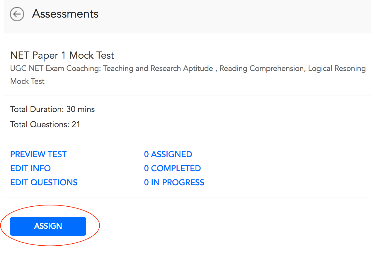 Assign Assessment to a Student