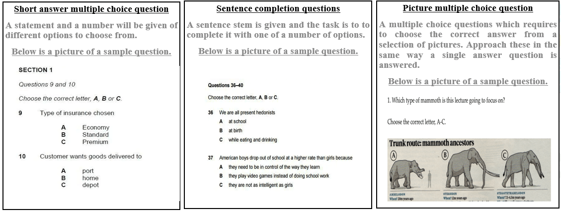 Different types of multiple choice questions - IELTS Exam