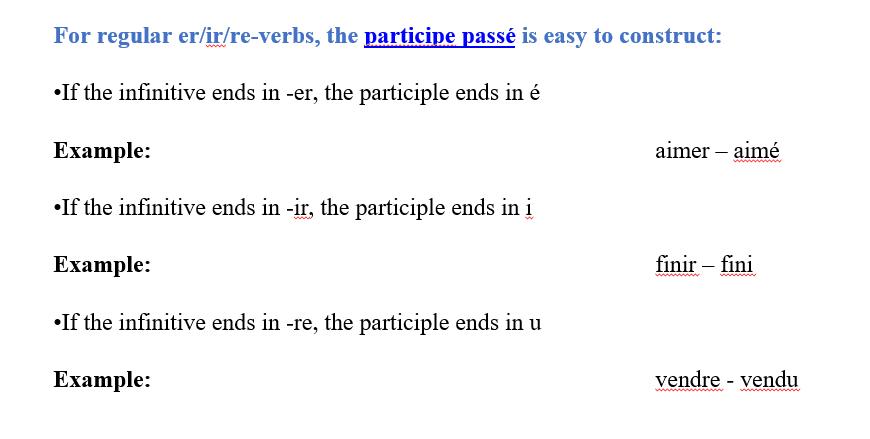Past participle - French Language
