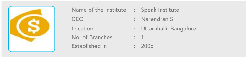 Speak Name of the Institute