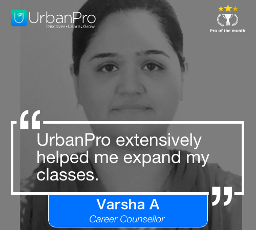 Varsha A Pro of the month- may 3 week
