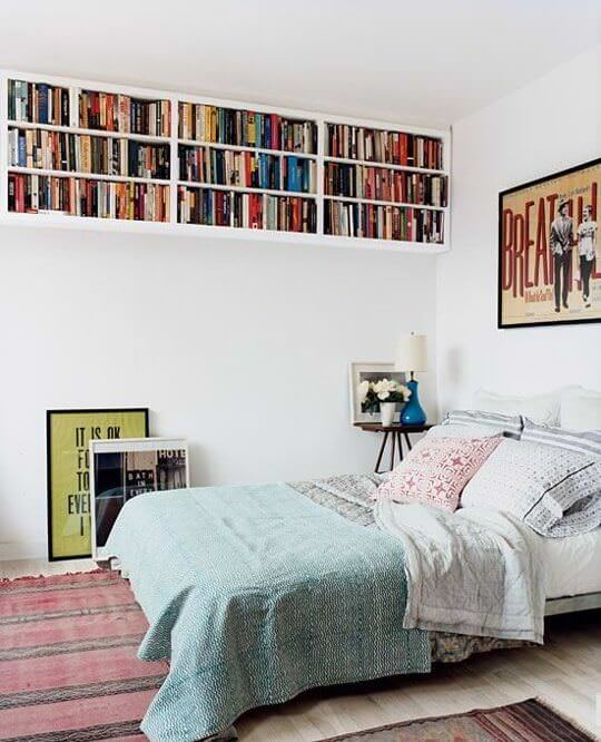 Create shelves near the ceiling for small bedroom