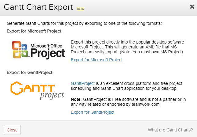 Exporting The Gantt Chart Teamwork Projects Support