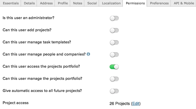 when a user is granted the administrator permission they are automatically given the add projects manage task templates and manage people and companies