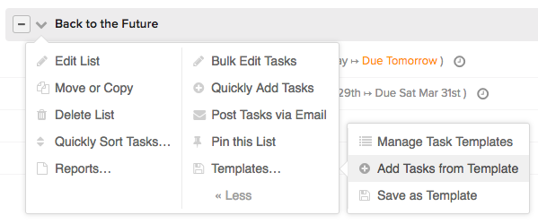 Using Task List Templates - Teamwork Projects Support