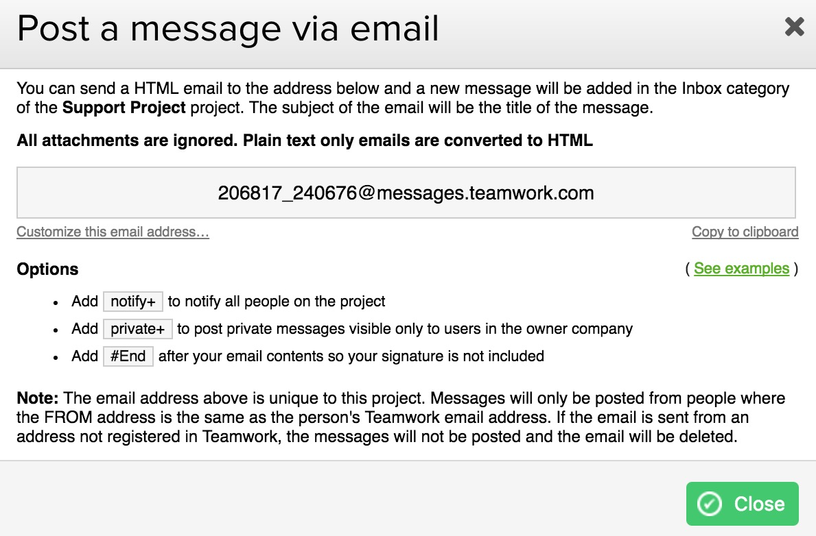 adding a message via email teamwork projects support