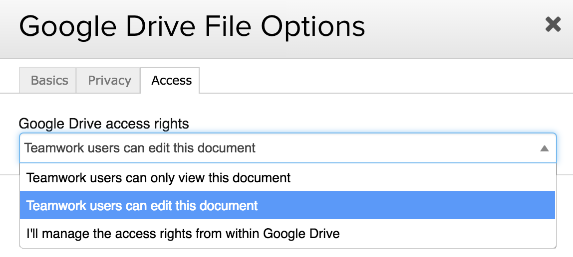 google drive file options teamwork projects support