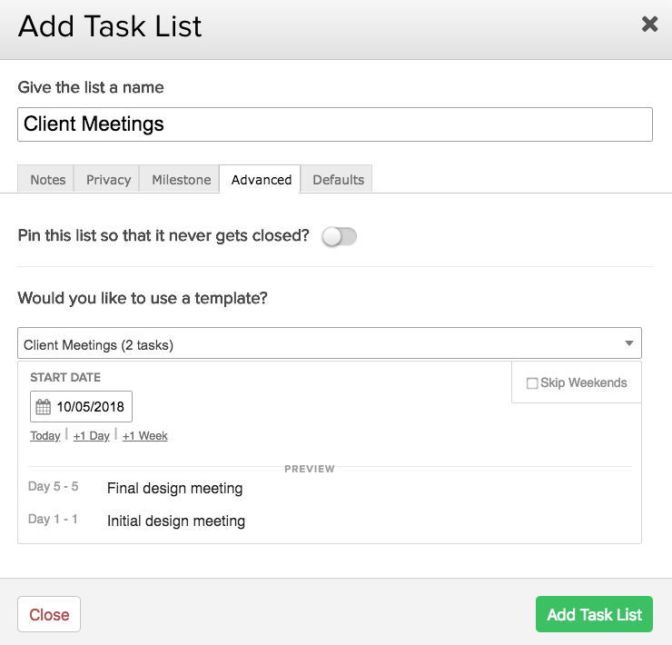 using task list templates teamwork projects support