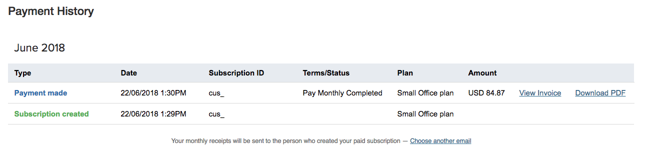Changing the Email Address for Your Subscription Invoices