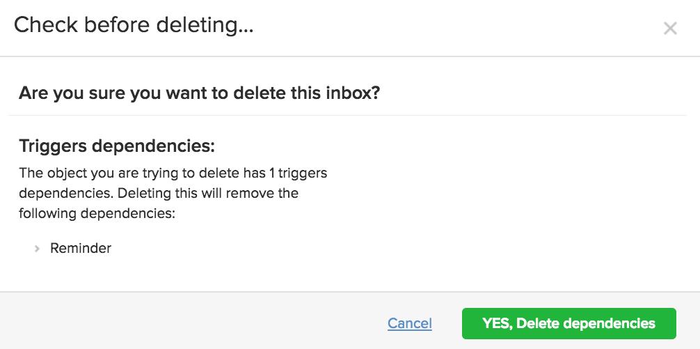 Delete inbox
