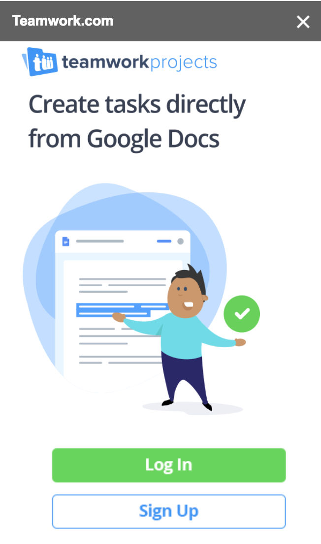 Using The Google Docs Add On Teamwork Projects Support - Google docs sign up