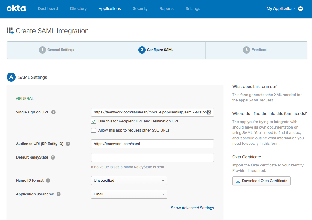 Setting Up Teamwork Projects SSO in Okta - Teamwork Projects