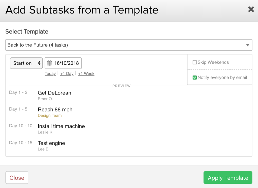 adding subtasks from a template teamwork projects support
