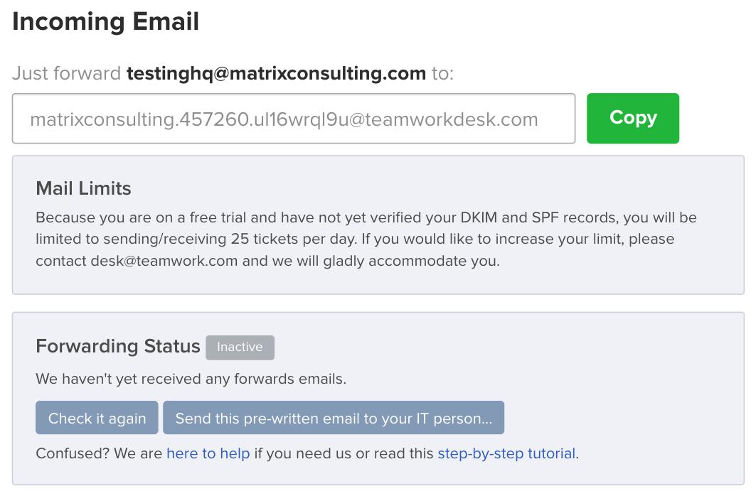 Setting Up Email Forwarding - Teamwork Desk Support