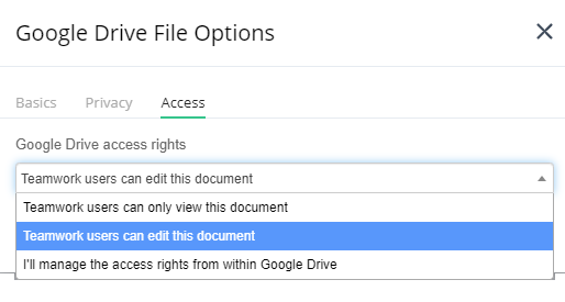 Google Drive File Options - Teamwork Projects Support