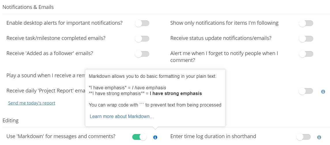 Using Markdown - Teamwork Projects Support