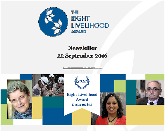 The Laureates of this year's Right Livelihood Award have been announced today in Stockholm