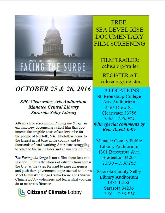 """""""Facing the Surge"""" 10/25 St Pete, 10/26 Bradenton & Sarasota"""