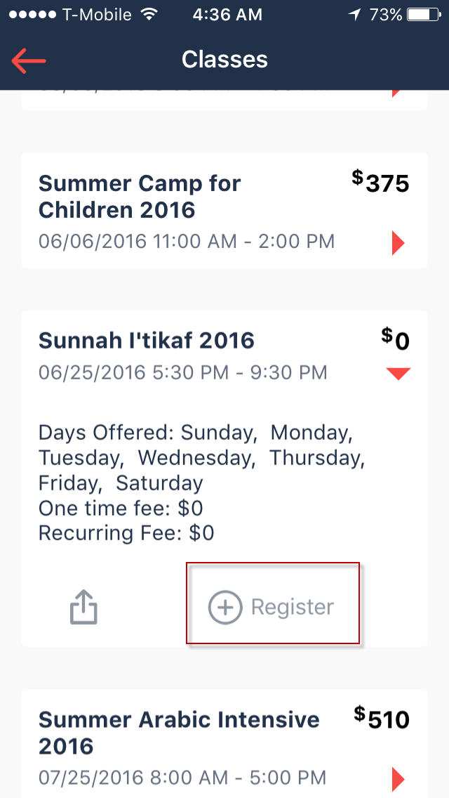 How to setup and perform Itekaf registrations using App