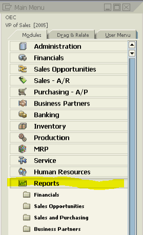 STANDARD REPORTS IN SAP BUSINESS ONE v9 1 - Seidor USA B1 Help Docs