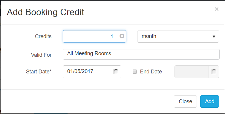 Add Booking Credit