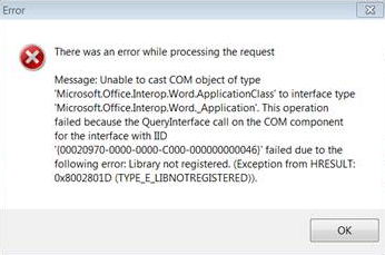 Unable to cast COM object of type 'Microsoft Office Interop