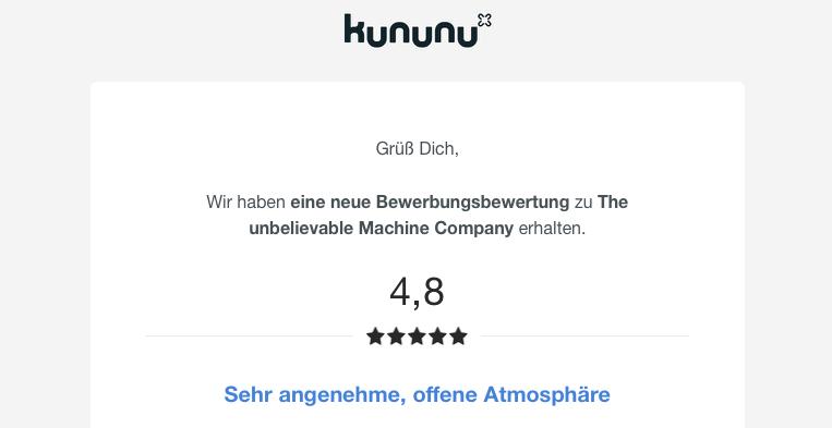 Auf Kununu erhält The unbelievable Machine Company erhält ausnahmslos gute Bewertungen