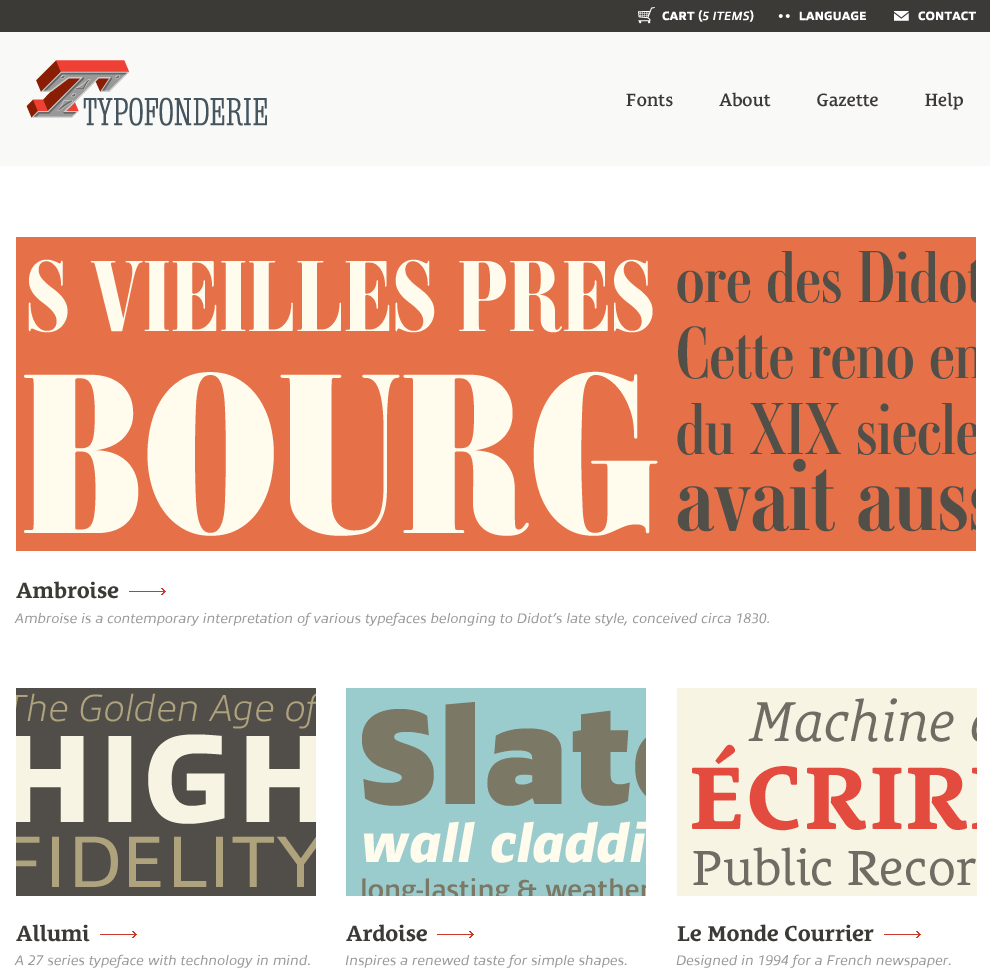 typofonderie home page design by Paravel